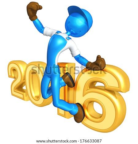 Worker Success 2016 - stock photo