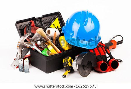 worker tools isolated on white - stock photo