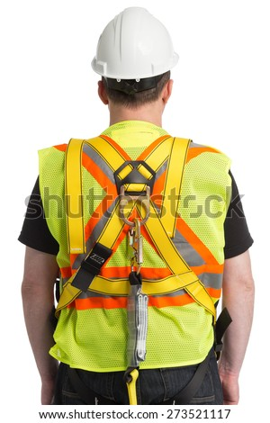 Worker uniform with protection awareness - stock photo