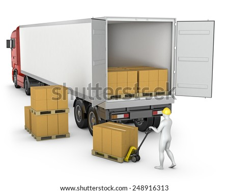 Worker unloads or loads white blank semi-trailer isolated on white background - stock photo