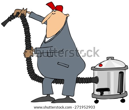 Worker using a shop vacuum - stock photo