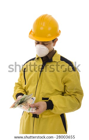 Worker with a yellow uniform counting euro banknotes - stock photo