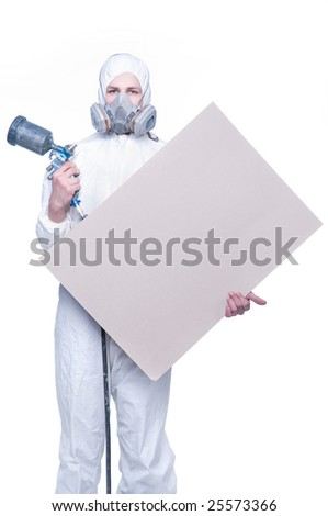 Worker with airbrush gun and blank for your text - stock photo