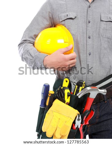 worker with full equipment ready to work - stock photo