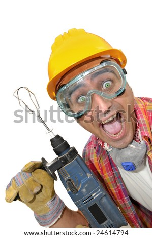 worker with glasses and drill isolated in white - stock photo