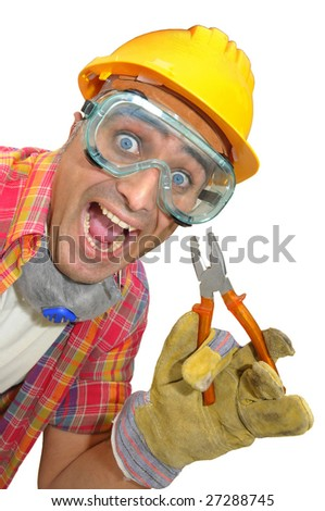worker with glasses and plier isolated in white - stock photo