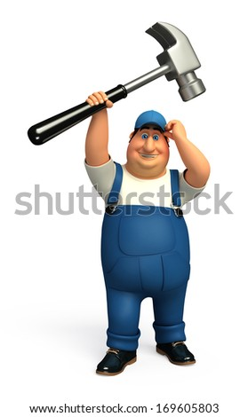 Worker with hammer - stock photo