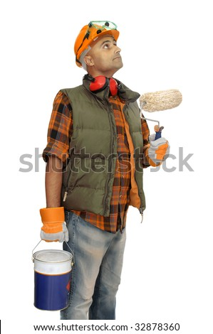 Worker with hat and paint bucket isolated in white - stock photo