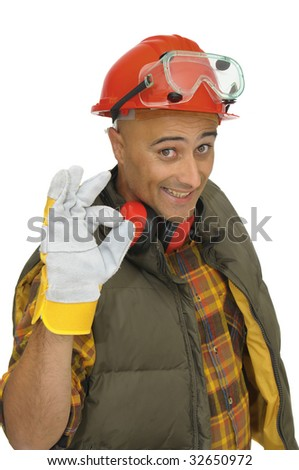 Worker with hat and protection phones isolated in white - stock photo