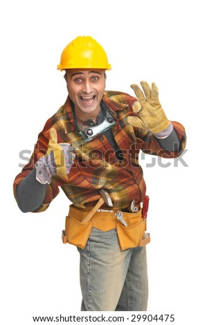 Worker with hat and tools isolated in white - stock photo
