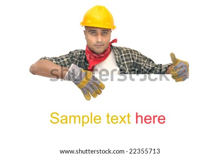 worker with hat isolated against a white background - stock photo