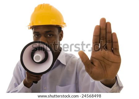 Worker with megaphone saying stop to someone - stock photo