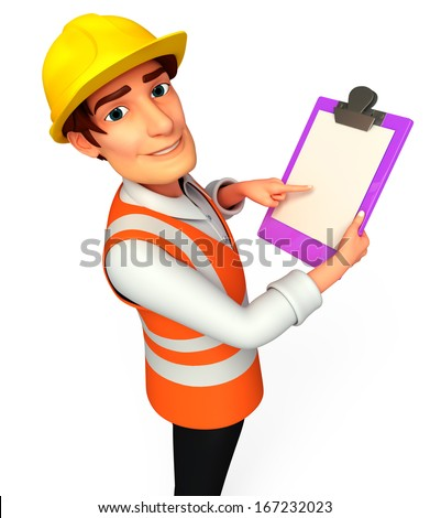 Worker with notepad - stock photo