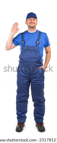 Worker with raised hand. Isolated on a white background. - stock photo