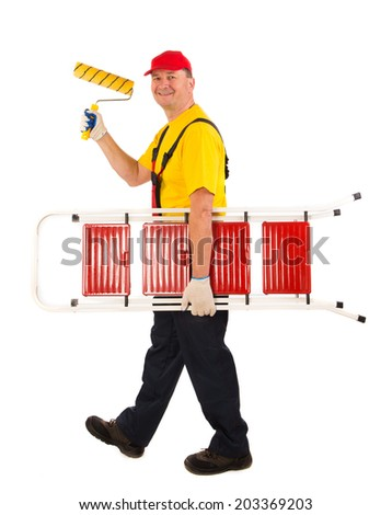 Worker with roller. Isolated on a white background. - stock photo