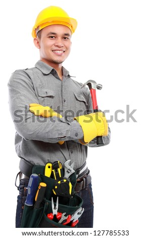 worker worker holding a hammer ready to work - stock photo