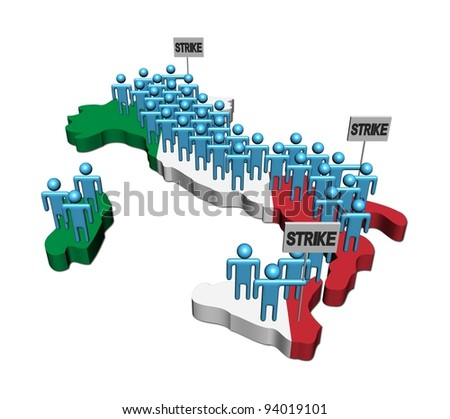 workers on strike on Italy map flag illustration - stock photo