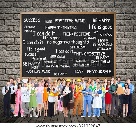 Workers People group in positive thinking background. - stock photo