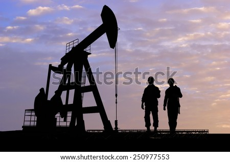 Workers produce oil. - stock photo