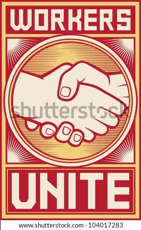 workers unite poster (workers unite design, handshake design) - stock photo