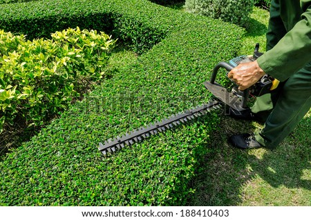 Workers were using electric mower for Gardening. - stock photo