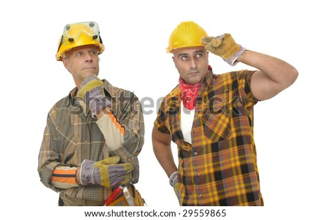 workers with hat isolated against a white background - stock photo