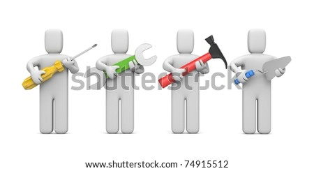 Workers with tools. Image contain clipping path - stock photo