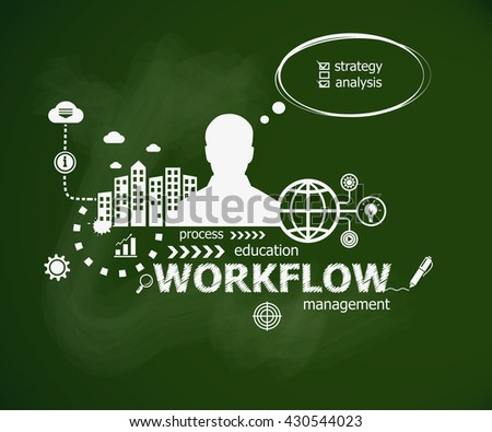 Workflow design illustration concept and man. Hand writing Workflow, raster version - stock photo