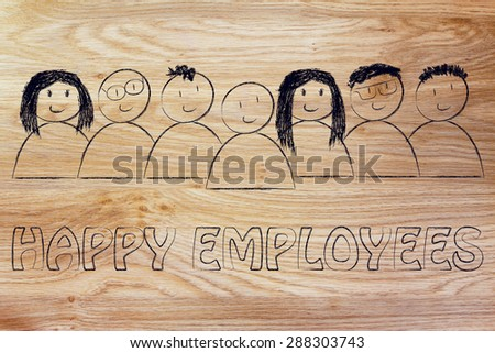 workforce and human capital: happy employees - stock photo