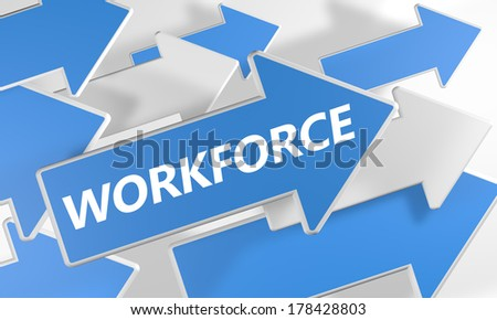 Workforce 3d render concept with blue and white arrows flying upwards over a white background. - stock photo