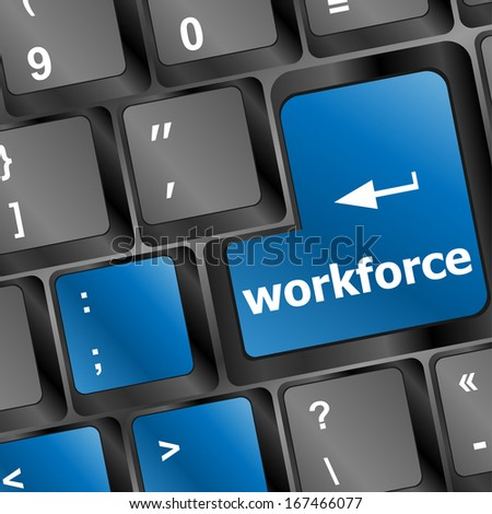 Workforce key on keyboard - business concept - stock photo