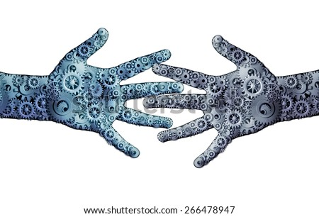 Working business teamwork concept as a group of mechanical gears and cog wheels shaped as two open hands as a symbol for cooperation technology partnership or robotic artificial intelligence icon. - stock photo