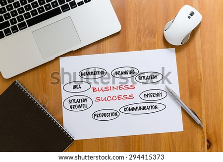 Working desk with laptop computer and paper draft showing marketing success concept - stock photo
