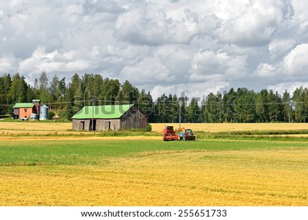 Working Harvesting Combine in Field of Wheat - stock photo