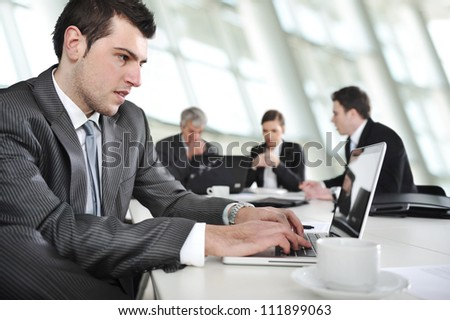 Working laptop during the business meeting - stock photo