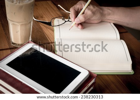 Working man in coffee shop - stock photo