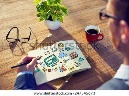 Working Notepad Global Comunications Social Media Concept - stock photo