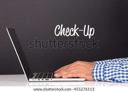 WORKING OFFICE COMMUNICATION PEOPLE USING COMPUTER CHECK-UP CONCEPT - stock photo