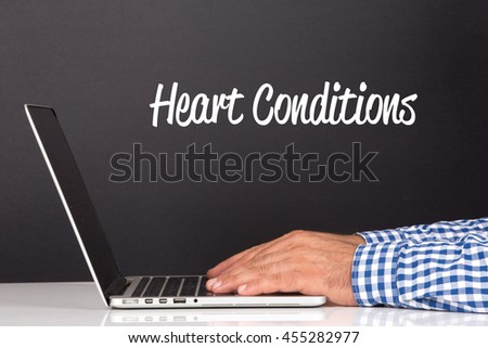 WORKING OFFICE COMMUNICATION PEOPLE USING COMPUTER HEART CONDITIONS CONCEPT - stock photo