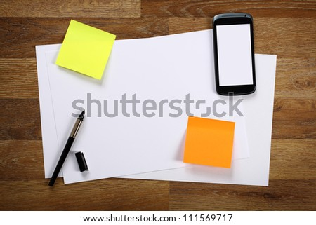 Working on a table - stock photo