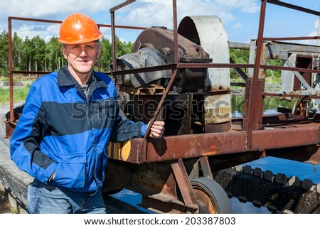 Working place of senior engineer on sewage treatment plant - stock photo
