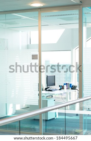 Working place with computer in a modern office - stock photo