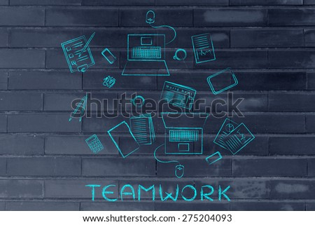 working produtively with a co-worker: shared desk with mixed objects and 2 laptops - stock photo