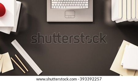 Working table, top view, with laptop keypad, stationery, paper work, books and etc., with copy space, 3d rendered - stock photo