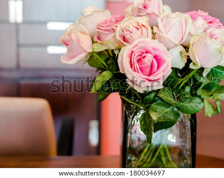 Vase of Roses on Table Working Table With Vase of