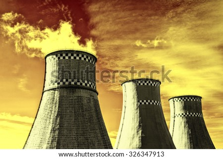 Working thermal power station with smoke - stock photo