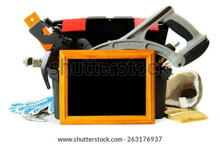 Working tools in box. Many working tools in the box with frame on white background.  - stock photo