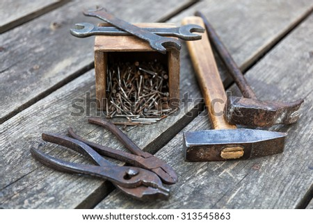 Working tools reference to seo tools, shallow DOF, selective focus - stock photo