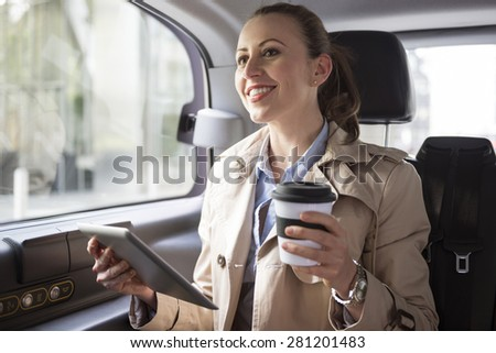 Working while a drive- only with confident transport - stock photo