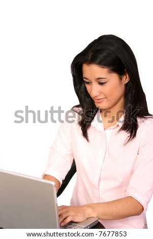 Working with Laptop - stock photo